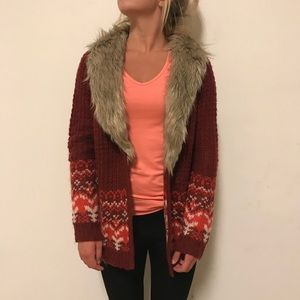 Fair Isle Fur Collar Open Cardigan NWOT!